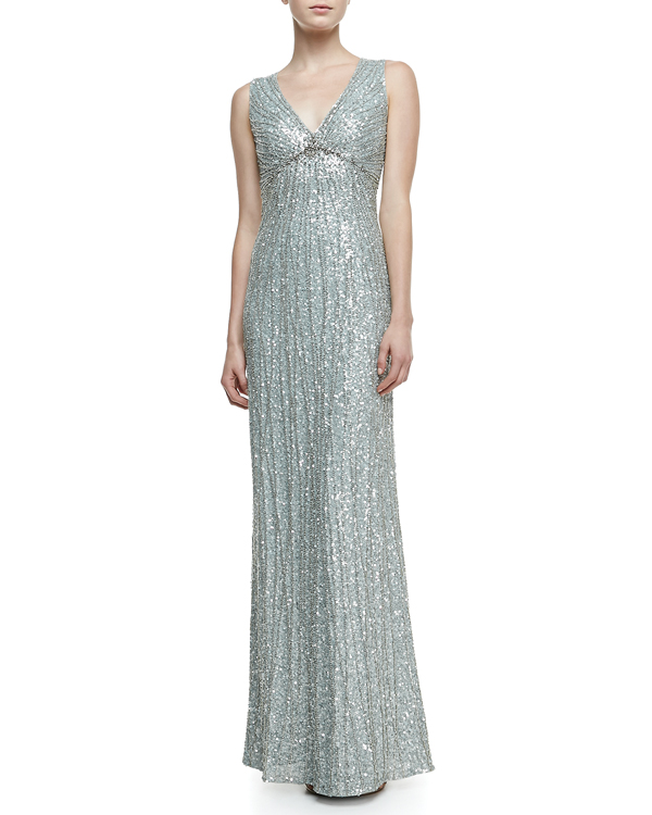 Jenny Packham beaded gown from Neiman Marcus